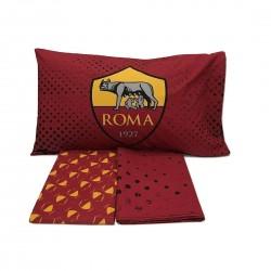 Completo letto una piazza AS Roma Official in cotone Tris Lenzuola