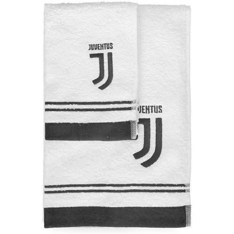 Juventus Set Asciugamano e Ospite in Spugna,Nuovo Logo  100% Cotone, Bianco/Nero, 100 x 60cm