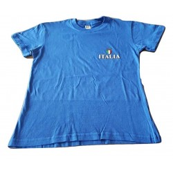Italia T-Shirts Manica Corta Colore Azzurro Scudetto Piccolo Taglie 8/10-10/12-12/14 Anni