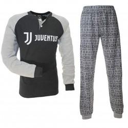 JUVENTUS. Pigiama Uomo in Caldo Cotone Prodotto Ufficiale Colore Nero Taglie S-10-12-14-16 anni